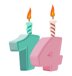 14 years birthday number with festive candle for vector