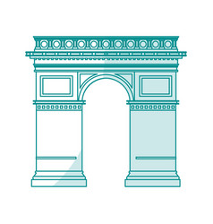 blue silhouette shading monument arch antique vector image vector image