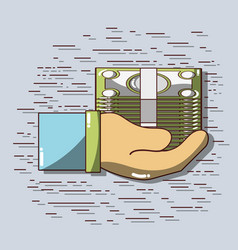 Businessman hand with bills to financial economy vector