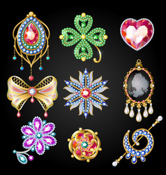 cartoon colorful beautiful jewelry collection vector image