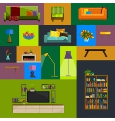 collection of modern flat furniture icon vector image