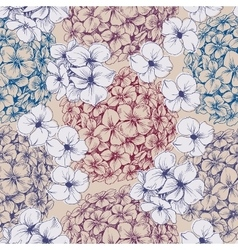 Hydrangea seamless pattern Retro floral background vector image