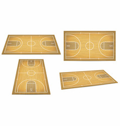 basketball court with wooden floor view from vector image