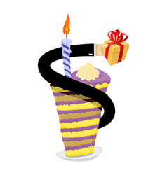 birthday piece of cake and candle hand give gift vector image vector image