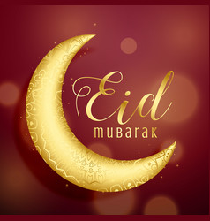 golden crescent moon on red background for eid vector image