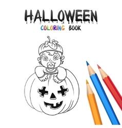 Halloween coloring book cute baby cartoon vector