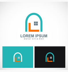 home design window logo vector image vector image