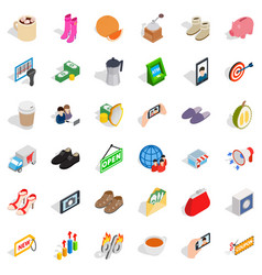 woman shop icons set isometric style vector image