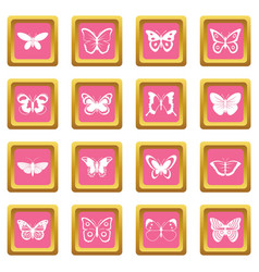 butterfly icons pink vector image