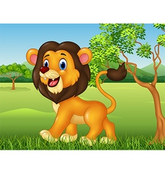Cartoon funny lion walking in jungle background vector