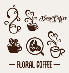 floral coffee shop logo template natural abstract vector image vector image