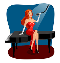 Jazz singer woman on grand piano cartoon vector