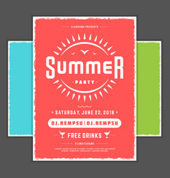 retro summer party design poster or flyer night vector image