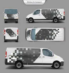 white minivan front back side view vector image vector image