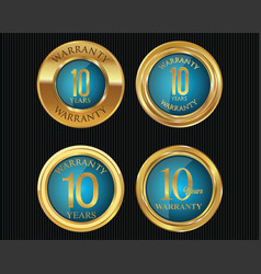 10 years warranty golden labels collection 6 vector image