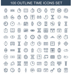 100 time icons vector image