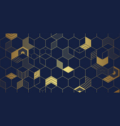 abstract golden cubes background vector image