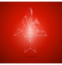 Abstract transparent arrow on red background vector
