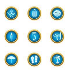 Adventure journey icons set flat style vector