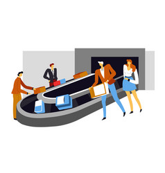 airport conveyor belt baggage carousel suitcase vector image