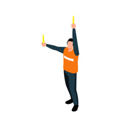 Airport marshaller icon vector