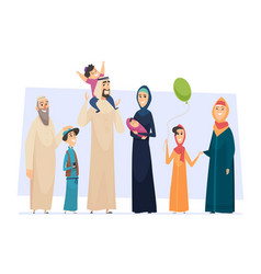 Arabic family male and female muslim happy vector