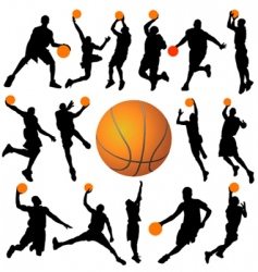 Basketball player and ball vector