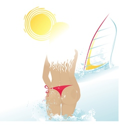 Beach woman and windsurf vector