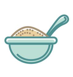 Big blue bowl of healthy porridge with spoon vector