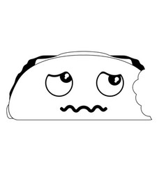 Bitten sad taco emote fast food vector