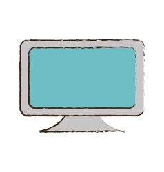 Blue screen computer equipment office sketch vector