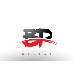 Bp b p brush logo letters with red and black vector