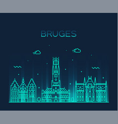Bruges skyline west flanders belgium line vector