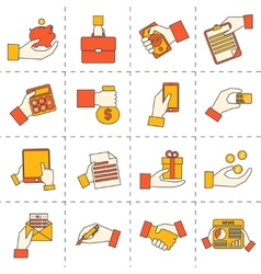 Business hands financial icons vector