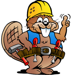 cartoon a working handyman beaver vector image