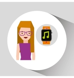 cartoon girl smart watch app music vector image