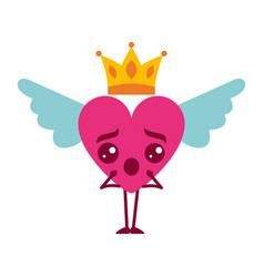 Cartoon heart in love surprise kawaii wings and vector