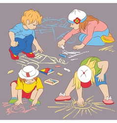 Children drawing with chalk vector