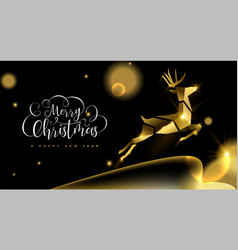 christmas and new year 3d gold reindeer card vector image