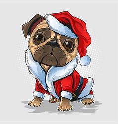 Christmas pug dog wearing santa claus costume vector