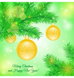 Christmas tree branch with Christmas yellow toys vector image