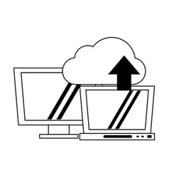 cloud computing technology black and white vector image