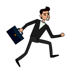 color image cartoon full body man running with a vector image
