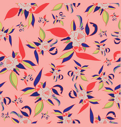 colorful floral pattern on coral background vector image