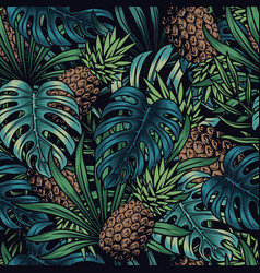 colorful vintage tropical seamless pattern vector image