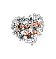 Coloring image - heart for mothers day vector