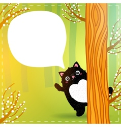 Cute cartoon fat black cat in the fairy forest vector image