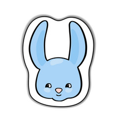 cute rabbit animal face sticker vector image