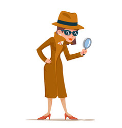 Detective woman snoop magnifying glass tec search vector