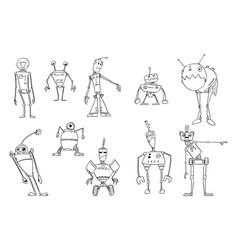 drawing set funny cute retro robots vector image